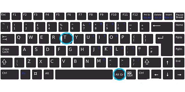 klavyede tl işareti