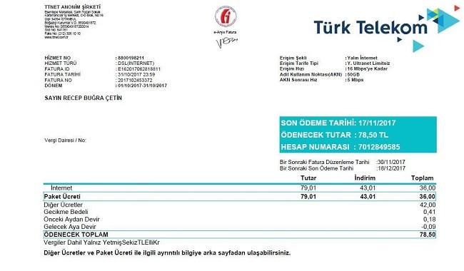 türk telekom fatura ödenmezse