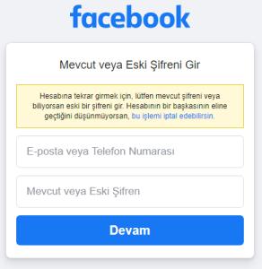 Mevcut veya Eski Facebook Şifreni Gir